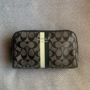 COACH Large Coated Canvas Satin Cosmetic Bag Black